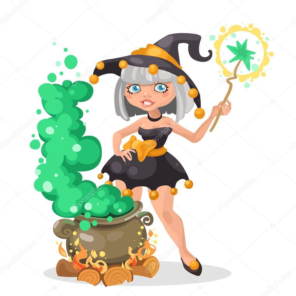 Halloween Hexe Mädchen mit dem Kessel Zaubertrank