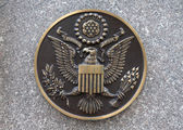 Bronze seal of the United States on marble — Stock Photo
