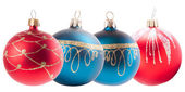 Four christmas decoration ball isolated on white — Stock Photo