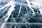 冬のバイカル湖の氷の質感をクラック — ストック写真