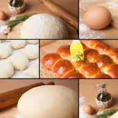 Collage of pictures with baking homemade bread — Stock Photo