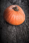 Autumn background with pumpkin on wooden board — Stock Photo