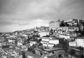 City view from the railway bridge. Porto, Portugal. Black and wh — Stock Photo