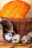 Cheese allsorts in a wicker basket on yellow autumn leaves with  — Stock Photo