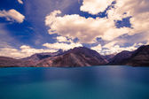 Expanse of Lake Iskander-Kul. Tajikistan. In shades of blue — Stock Photo