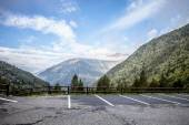 Parking in the valley in the mountains. andorra — Stock Photo