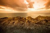 戏剧性的太阳光线通过多云的黑暗天空的海洋 — 图库照片
