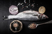 Fresh sea fish lying on dark background with spices — Stock Photo