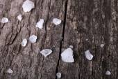 Sea salt in an old utensils on wooden table — Stockfoto