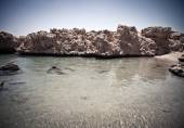 View of the rocky coast of the Red Sea from the sea. tinted — Stock Photo