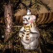 Christmas Toy Polar Bear with scarf hanging on the Christmas tre — Stock Photo #61283611