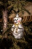 Christmas Toy Polar Bear with scarf hanging on the Christmas tre — Stock Photo