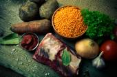 Ingredients for Turkey vegetable soup with red lentils, lying on — Stock Photo