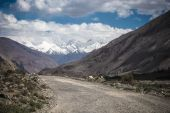 Tajikistan. Pamir highway. Road to the clouds. Toned — Stock Photo