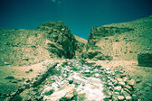 Tajikistan. Mountain stream flowing down the canyon with the bar — Stock Photo
