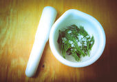 Mortar with pestle and dill and salt on a wooden table. tinted — Stock Photo