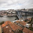 Red tiled roofs, metal bridge, old houses and the river Douro in — Stock Photo #64070085