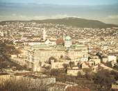 Blick auf Budapest vom Gellertberg, Ungarn. Häuser, Fluss Danub — Stockfoto