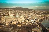 Vista su Budapest dalla collina di Gellert, Ungheria. Case, fiume Montorio — Foto Stock
