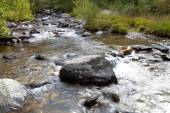 Boulder in the turbulent flow of a mountain river — Stock Photo