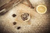 Homemade pastries on a light wooden table with flour. Toned — Stock Photo