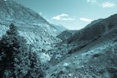 Hilly landscape in the Fan Mountains. Pamir. Tajikistan. Toned — Stock Photo