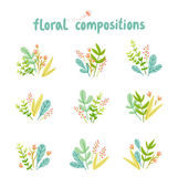 Flowers and leaves compositions vector collection — Stock Vector
