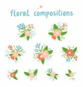 Vintage floral compositions vector collection — Stock Vector
