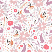 Flowers and bunnies seamless pattern — Stock vektor