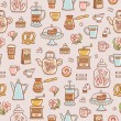 Tea, coffee and desserts seamless pattern — Stock Vector #58900047