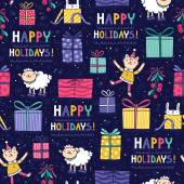 Happy holidays fun seamless pattern — Stock Vector