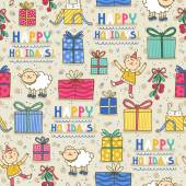 Happy holidays fun seamless pattern on light background — Stock Vector