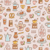 Tea, coffee and desserts seamless pattern — Stock Vector