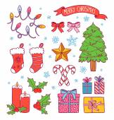 Cartoon christmas symbols collection — Stock Vector
