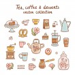 Tea, coffee and desserts collection — Stock Vector #59971749
