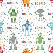 Colorful cartoon robots white background seamless pattern — Stockvektor