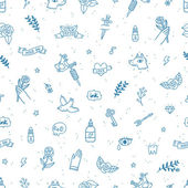 Tattoos doodle seamless pattern — Vecteur