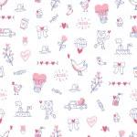 Amor está en todas partes el patrón de San Valentín — Vector de stock  #73124947
