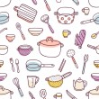 Kitchenware and cooking utensils seamless pattern — Stock Vector #73125159