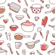 Kitchenware and cooking utensils red palette seamless pattern — Stock Vector #73125161