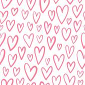 Hand drawn doodled hearts seamless pattern — Stock Vector