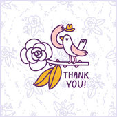 Thank you floral birdie card — Stock Vector