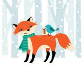 Woodland Christmas time — Stock Vector