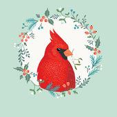 Christmas Cardinal bird — Stock Vector