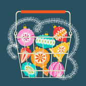 Christmas shopping basket — Stockvector