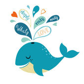 Whale in love — Stock Vector
