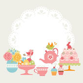 Easter tea party — Stock Vector
