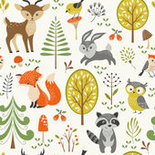 Cute forest pattern — Stock Vector