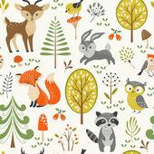 Schattig bos patroon — Stockvector