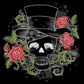 Dark skull in the hat with roses — Stock Vector